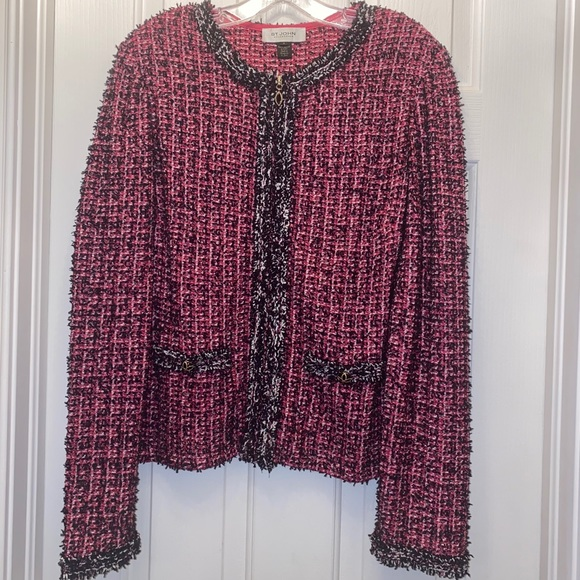 Vintage St. John Collection Tweed Jacket Pink
